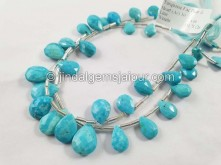 Turquoise Arizona Far Faceted Pear Beads --  TRQ170