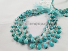 Turquoise Arizona Faceted Pear Beads  -- TRQ169