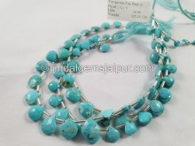 Turquoise Arizona Far Faceted Heart Beads -- TRQ171