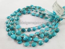 Turquoise Arizona Faceted Heart Beads -- TRQ174